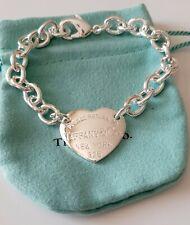 Bracciale donna a Maglia cuore grande a piastrina   19 cm , silver 925 tiffani