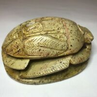 Vintage Egyptian Scarab Beetle Large Hand Carved Stone Hieroglyphics Paperweight