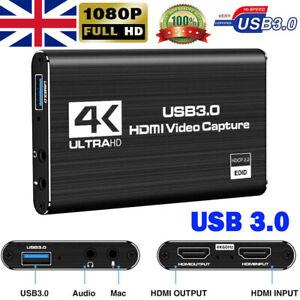 4K HDMI to USB 3.0 Video Capture Card 60Fps for XBOX PS4 MAC Live Streaming UK