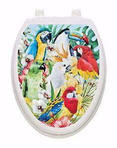 Parrots Toilet Tattoos Toilet Seat Decoration Toilet Lid Cover Birds Multi Color