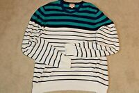 Brooks Brothers Mens White Striped Crew Neck Pullover Sweater Size 2XL
