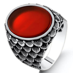 Solid 925 Sterling Silver Fish Scales Design Flat Agate Stone Men's Ring