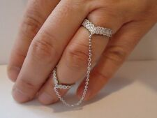LADIES FULL FINGER SLAVE RING W/ 1 CT ACCENTS /925 STERLING SILVER/SZ 6 TO 9