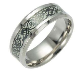 Ring  nachtleuchtend Edelstahl Silberfarbe mit Schwarze Drachen Muster (7)