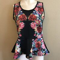 Love J Junior's Size XL Black Peplum Top Roses Floral Print