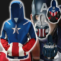 2019 Captain America Adults Zipper Hoodie Sweatshirt Cosplay Costume Pullover