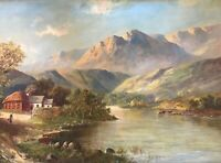 Antique oil painting 'Mount Lake' created by Graham Scott in 1920-1930th framed