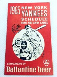 1965 New York Yankees Baseball Schedule Ballentine Beer #F
