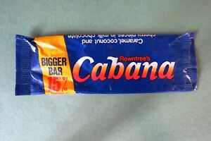 VINTAGE 1980'S ROWNTREE CABANA CHOCOLATE BAR WRAPPER