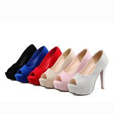 Ladies Sexy High Heels Pumps Peep Toe Party Prom Slim Dress Platform Shoes Plus