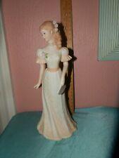 Vintage 1991 Masterpiece Homco Porcelain Lady w/Fan Figurine * Victoria *Signed