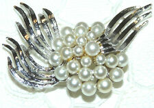 Vintage Signed ART Silver Tone Faux Pearl Brooch/Pin  C04*