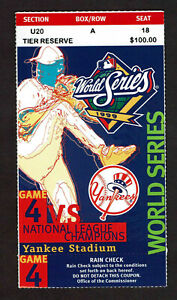 1999 World Series GAME 4 Ticket Stub New York Yankees vs  Braves Clincher