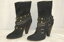 CO-OP Barneys New York  Black Suede  Studded Buckle Ankle Boots EU 41 US 11