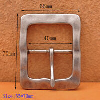 """Heavy Duty Solid Antique Silver Center Bar Belt Buckle Fits 1-1/2"""" Leather Belts"""