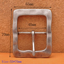 "Belt Buckle Fits 1-1/2"" Leather Belts Heavy Duty Solid Antique Silver Center Bar"