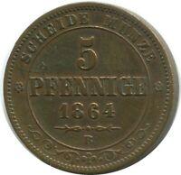 SACHSEN 5 PFENNIG 1864 B Dresden Mint German States #DE10521.12DW