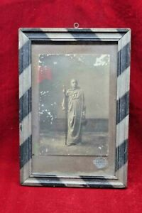 Wooden Photo Frame Vintage Old Antique Rare Sadhu Black & White Striped BF-85