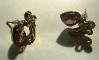 Lovely gold tone metal earrings with fruit and flora design pink and white stone
