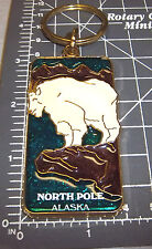 North Pole Alaska Keychain  - Stained Glass Style - beautiful Mountain Goat, NEW