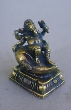 """Small Reclining Brass Ganesh Statue on Conch Shell for Hindu Practice 1"""" High"""