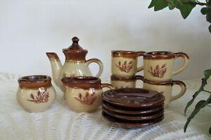Vintage Collectible Stoneware Brown Tan Wheat Design Childs Tea Set 12 Pc