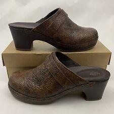 Crocs Womens Size 8 Brown Sarah Tooled Clog Triple Comfort Slip On Shoes 203911