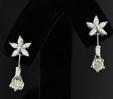 18k Solid White gold Natural Diamond dangling earring Stylish 1.10 ct marquise