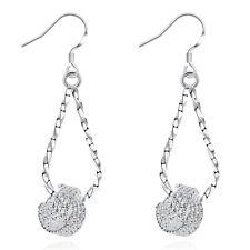 925 Sterling Silver Twist Drop Tennis Dangle Hook Earrings Women Jewelry Gifts