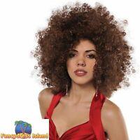 70's 1970s Disco Fever Brown Runway Afro Wig Big Hair Womens Fancy Dress Costume