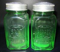 c1930's Hazel Atlas Uranium Glass Stovetop Salt & Pepper Shakers Deco Depression