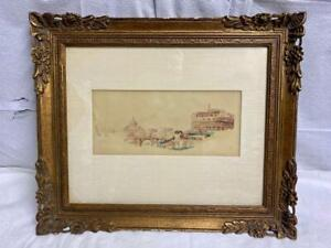 Nicely Framed Stefano Donadoni (1844-1911)A Vignette of Rome Watercolor on Paper
