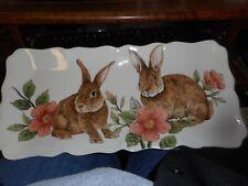 New Mint Maxcera Corp BUNNY Rabbit Flowered Rectangular Serving Platter