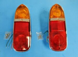 New Pair of Tail Lamp Assemblies Triumph TR4 TR4A TR250 1962-1968 Amber on Red