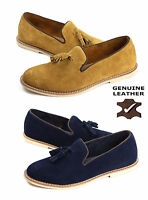 Mens Leather Slip On Shoes Smart Tassel Suade Fashion Loafers Casual UK Size