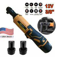 NEW 12V 3/8'' Cordless Electric Ratchet Wrench Kit Right Angle Tool + 2 Battery