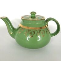 Vintage Hall New York Teapot Emerald Green Gold Decorated Trim 6 Cup Flowers