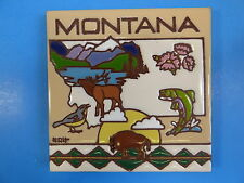 "Ceramic Art Tile 6""x6"" Montana State collector tile fish deer buffalo trivet G86"