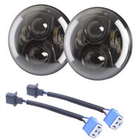 """1 Pair Black 7"""" Inch LED Headlight With Halo Angel Eyes For Jeep JK Headlamp"""