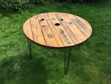 130cm Wooden Round Industrial Dining Garden Table Cable drum Upcycled Bespoke