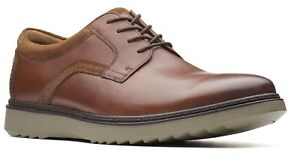 Mens Clarks Unstructured Geo Lace Oxfords - Dark Tan Leather [261 36758]