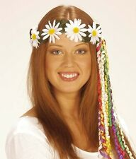 Daisy Diademes With Multi Ribbons Hat for 60s 70s Fancy Dress Accessory