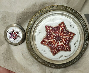 Antique Glass SULPHIDE Brass CURTAIN TIEBACK & Nail Both FANCY STAR SNOWFLAKE
