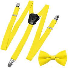 New Kid's Boy's girl's Vesuvio Napoli Suspenders Braces Bowtie clip on Yellow