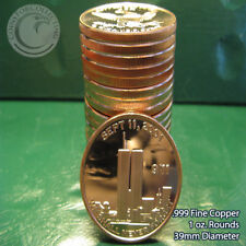 """20 """"911 We Shall Never Forget"""" 1oz .999 Copper rounds 1 Roll Plastic Tube"""
