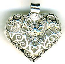 "925 Sterling Silver Filigree Double Sided Puff Heart Butterfly Pendant  Width 1"""