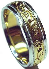 NEW! HAND ENGRAVED TWO TONE GOLD MEN'S WEDDING RING