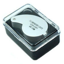 Mini Illuminated 40X - 25mm Jewelers Loupe / Magnifier with LED Lights