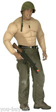 Mens Muscle Top Costume Padded Body Suit Army Superhero Strongman Wrestler