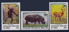 Congo 1978 - Animals Wildlife WWF Chimpanzee Hippopotamus Buffon Sc 456/8 - MNH